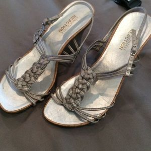 Kenneth Cole Reaction silver sandal wedge.
